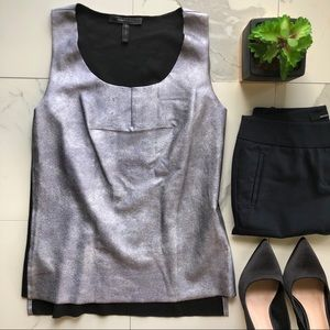 BCBGMaxAzria Madrah Silver Sleeveless Top